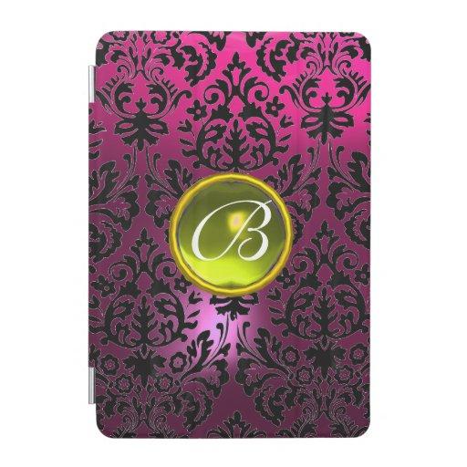 PINK BLACK DAMASK YELLOW GEMSTONE MONOGRAM Floral  iPad Mini Cover