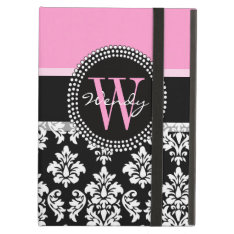 Pink, Black Damask Your Initial, Your Name Ipad Air Cases at Zazzle