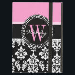 "Pink, Black Damask Your Initial, Your Name iPad Air Cover<br><div class=""desc"">Girly,  Black and White Vintage Damask Pattern with Monogram Initial and Name with pink accent color. Personalize with your name and your monogram. Design by Elke Clarke &#169;2011. Graphics licensed for use.</div>"