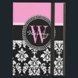 "Pink, Black Damask Your Initial, Your Name iPad Air Cover<br><div class=""desc"">Girly,  Black and White Vintage Damask Pattern with Monogram Initial and Name with pink accent color. Personalize with your name and your monogram. Design by Elke Clarke ©2011. Graphics licensed for use.</div>"
