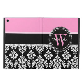 Pink, Black Damask Your Initial, Your Name Cover For iPad Air