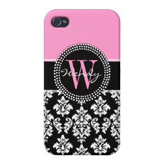 Pink, Black Damask Your Initial, Your Name Case For iPhone 4