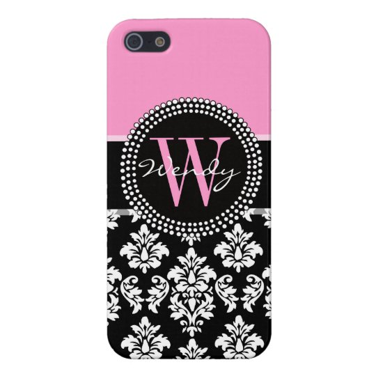 Pink, Black Damask Your Initial, Your Name iPhone SE/5/5s Case