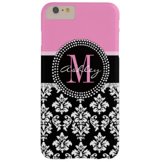 PINK, BLACK DAMASK, YOUR MONOGRAM ,YOUR NAME BARELY THERE iPhone 6 PLUS CASE