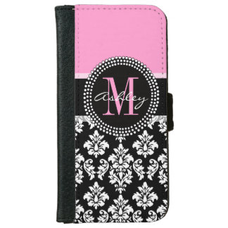 PINK, BLACK DAMASK, YOUR MONOGRAM ,YOUR NAME iPhone 6 WALLET CASE