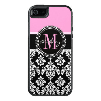 PINK, BLACK DAMASK, YOUR MONOGRAM ,YOUR NAME OtterBox iPhone 5/5s/SE CASE