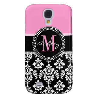 PINK, BLACK DAMASK, YOUR MONOGRAM ,YOUR NAME SAMSUNG S4 CASE
