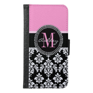 PINK, BLACK DAMASK, YOUR MONOGRAM ,YOUR NAME WALLET PHONE CASE FOR SAMSUNG GALAXY S6