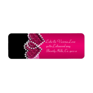 Pink & Black Diamond Locking Hearts Wedding Label