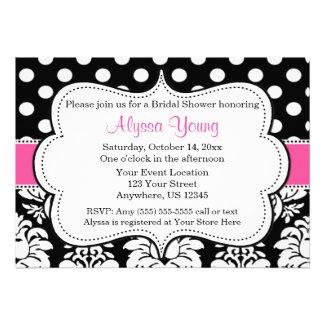 Pink Black Dots Damask Invitation