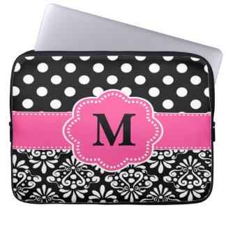 Pink Black Dots Damask Monogram Laptop Sleeve