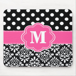 Pink Black Dots Damask Monogram Mouse Pad. Mouse Pad