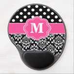 "Pink Black Dots Damask Monogram Mousepad<br><div class=""desc"">Show off your personal style in a fun way with this pink and black dots and damask monogram mousepad.</div>"