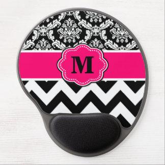 Pink Black Dots Damask Monogram Mousepad Gel Mouse Pad