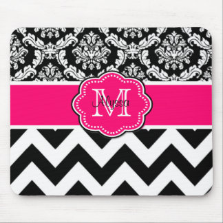 Pink Black Dots Damask Personalized Mousepad