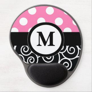 Pink Black Dots Scroll Monogram Mousepad Gel Mouse Pad