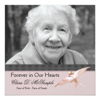 Pink Black Dove Womans Photo Funeral Announcements