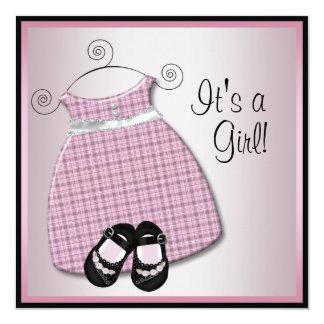 Pink Black Dress Shoes Pink Black Baby Girl Shower Invitation