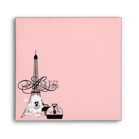 Pink Black Eiffel Tower Paris French Envelope