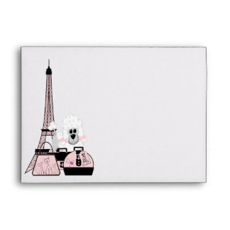 Pink Black Eiffel Tower Paris Poodle Envelope