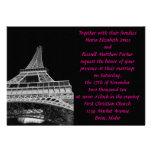 Pink & Black Eiffel Tower Wedding Invitation