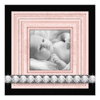 Pink Black Elegant Baby Girl Birth Announcements
