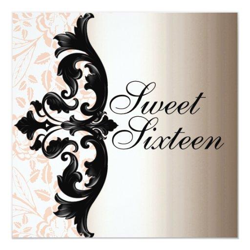 Pink & Black Elegant Damask Birthday Invitation