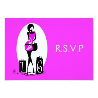 "Pink black elegant ""sweet sixteen"" rsvp 3.5x5 paper invitation card"