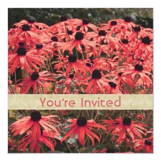 Pink Black Eyed Susan Flowers Square Invitation
