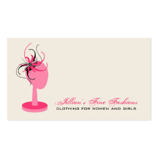 Pink Black Fascinator On Hat Stand Clothing Store Business Card