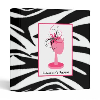 Pink & Black Fascinator With Hat Stand Zebra Print binder
