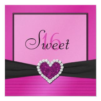 Pink, Black FAUX Glitter Heart Sweet 16 Invite