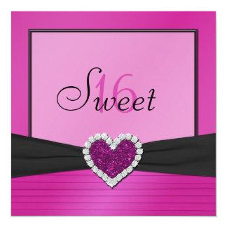 """Pink, Black FAUX Glitter Heart Sweet 16 Invite 5.25"""" Square Invitation Card"""