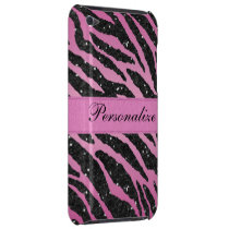 Pink & Black Faux Glitter Zebra Animal Print Barely There iPod Cover