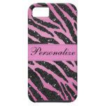 Pink & Black Faux Glitter Zebra Animal Print iPhone 5 Covers