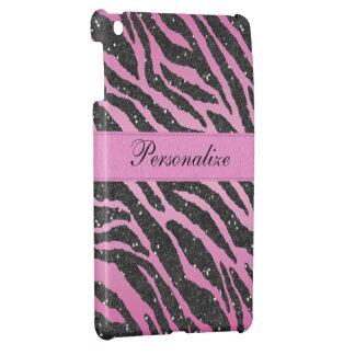 Pink & Black Faux Glitter Zebra Animal Print iPad Mini Cover