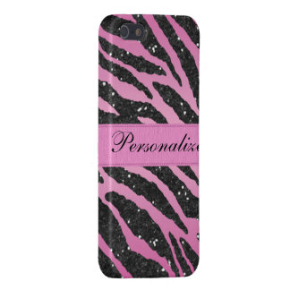 Pink & Black Faux Glitter Zebra Animal Print iPhone 5 Cases