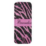 Pink & Black Faux Glitter Zebra Animal Print iPhone 4 Cases