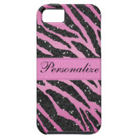 Pink & Black Faux Glitter Zebra Animal Print iPhone SE/5/5s Case