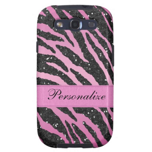 Pink & Black Faux Glitter Zebra Animal Print Samsung Galaxy S3 Cases