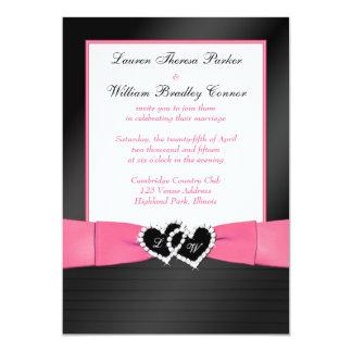 Pink, Black FAUX Pleats Hearts Wedding Invite 2