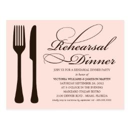 PINK & BLACK FLATWARE   REHEARSAL DINNER INVITE POSTCARD