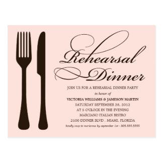 PINK & BLACK FLATWARE | REHEARSAL DINNER INVITE POSTCARD