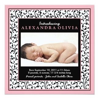 Pink Black Floral Baby Photo Birth Announcement