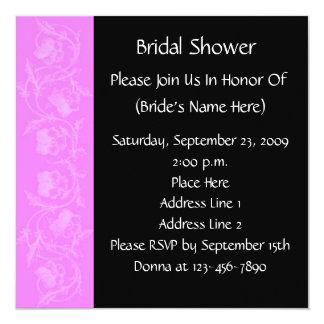 Pink Black Floral Bridal Wedding Shower Invitation
