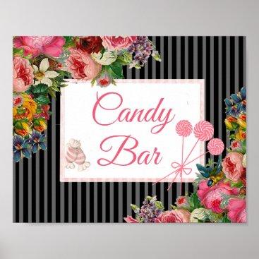 Wedding Themed Pink & Black Floral Candy Bar Wedding Sign Poster