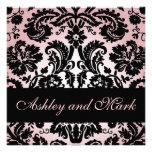 Pink Black Floral Damask Wedding Invitation