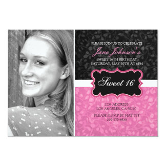 Pink & Black Floral Design Photo Sweet16 Invite