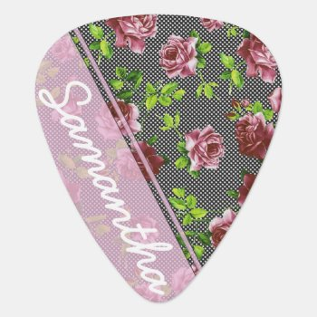 Pink & Black Floral Monogram Guitar Pick by ChicPink at Zazzle