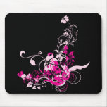 Pink/Black Floral Mouse Pad